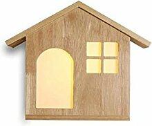 GAOLILI Kreative Massivholz Wandleuchte Wohnzimmer Dekoration Schlafzimmer Holzwand Massivholz Racks Lampen Massivholz Regale Lampen Energiesparende LED ( Farbe : A , größe : Weißes Licht )