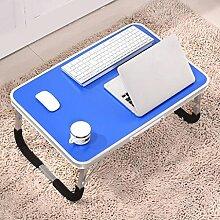 GAOLILI Laptop-Tisch auf dem Tisch mit dem Tisch zu bewegen die faltende einfache Lern-Schreibtisch Schreibtisch Lazy Dormitory Student Lern-Tabelle Kleine Tabelle Einfache Bett-Tabelle Erhöhen Sie den Desktop Großraum stark ( Farbe : Blau )
