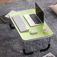 GAOLILI Laptop-Tisch auf dem Tisch mit dem Tisch zu bewegen die faltende einfache Lern-Schreibtisch Schreibtisch Lazy Dormitory Student Lern-Tabelle Kleine Tabelle Einfache Bett-Tabelle Erhöhen Sie den Desktop Großraum stark ( Farbe : Grün )