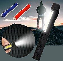 GAOWE Super Helle COB LED Taschenfeder Licht Inspektion Arbeitslicht Taschenlampe (3 Sätze, Blau + Schwarz + Rot)