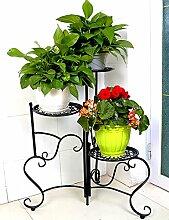 GAOWUFENGYL Eisen Blume Blumenregal im europäischen Stil Mehrstöckige Blumenregale Kreative Balkon Blumenregal Einfache Indoor-Pflanzen Blumentöpfe Flower Rack Versammlung für Blumen ( Farbe : Schwarz )