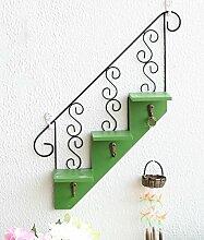 GAOWUFENGYL Wandmontierte Blumentöpfe American kreative Treppe hängenden hölzernen Werk Regal Schlüsselhaken Cafe Wandregale Versammlung für Blumen ( farbe : B )