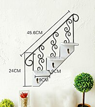 GAOWUFENGYL Wandmontierte Blumentöpfe American kreative Treppe hängenden hölzernen Werk Regal Schlüsselhaken Cafe Wandregale Versammlung für Blumen ( farbe : A )