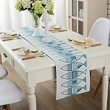 GAOYUHUA GY&H Baumwolle und Leinen Tisch Couchtisch TV-Schrank Tisch Läufer Abdeckung Handtuch Staubdicht Haus Dekoration,blue,32*200cm