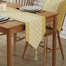 GAOYUHUA GY&H Europäische Geometrie Gelb Tischläufer Restaurant Dekoriert Couchtisch, Möbel Shop Läufer Bettwäsche,yellow,32*220cm