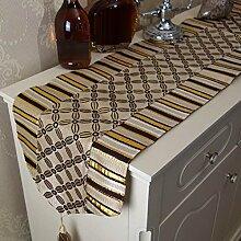 GAOYUHUA GY&H Europäische klassische Schornstein Tischläufer gemischte Esstisch Küche Esstisch Dekoration Hochzeit Zimmer Bett Läufer,Gold,32*180cm