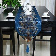 GAOYUHUA GY&H Europäische klassische Tischläufer neue geometrische abstrakte Muster Druck Bett Läufer Tisch TV-Schrank Haus Dekoration,blue,32*200cm
