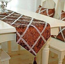 GAOYUHUA GY&H Europäisches neues hochwertiges Diamantgitter Tischläufer blaue Faser Polyesterfaser Tisch, Bett Dekorationen Läufer,red,33*220cm