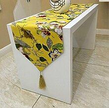 GAOYUHUA GY&H Flax Classic European Tischläufer Couchtisch Läufer Bett Läufer Schuhabdeckung Tissue, Hochzeit Raum Layout Dekoration,yellow,32*210cm