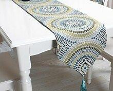 GAOYUHUA GY&H Geometrische abstrakte Tabelle Läufer Europa Vielfalt Esstisch Läufer Hause Dekoration Hause, Hotel, Hochzeit, Party,blue,32*200cm