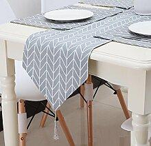 GAOYUHUA GY&H Grau Leinen Tisch Läufer Mahlzeit Couchtisch Abdeckung Tuch Hause Bett Läufer Dinner Party,gray,240*28cm