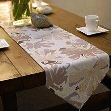 GAOYUHUA GY&H Hochwertige Leinen Tischläufer Hotel Heirat Bett Läufer Beige Aktiv Druck und Färben Desktop Anti - Hot Schutzfolie,Beige,32*200cm
