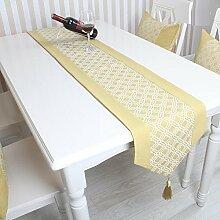 GAOYUHUA GY&H Hochwertige Tischläufer Europäische Luxus-Esstisch Flagge Haus Dekoration Bett Läufer gelb Multi-Size,yellow,32*200cm