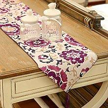 GAOYUHUA GY&H Moderne chinesische Drucktisch Läufer hochwertigen Tischtuch Pastoral Couchtisch, Bettläufer TV-Schrank Deckel Tuch,A,33*200cm