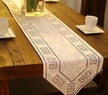 GAOYUHUA GY&H Neue klassische Satin Tischläufer Couchtisch TV-Schrank weichen Anzug Zubehör Multi-Stil Druck Abendessen Hochzeit Tischdekoration Läufer,white,33*200cm