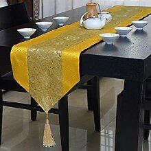 GAOYUHUA GY&H Neue klassische Satin Tischläufer Couchtisch TV-Schrank weichen Anzug Zubehör Multi-Stil Druck Abendessen Hochzeit Tischdekoration Läufer,D,32*200cm