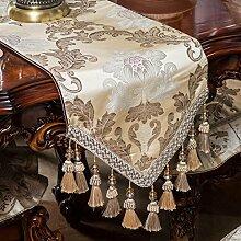 GAOYUHUA GY&H Neue Stickerei Tischläufer High-End Luxus Tischdecke Couchtisch Läufer Bett Runner Anti-Rutsch Staub Tischmatten mehrere hängende Perlen,B,35*210cm