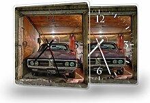 Garage - Lautlose Wanduhr mit Fotodruck auf Polycarbonat | geräuschlos kein Ticken Fotouhr Bilderuhr Motivuhr Küchenuhr modern hochwertig Quarz | Variante:30 cm x 30 cm mit weißen Zeigern - GERÄUSCHLOS
