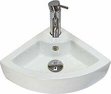 Garda Ceramic Corner Badezimmer Waschbecken, Tap &