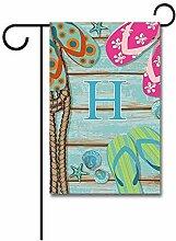 Garden Flagge,Willkommen Sommer Flipflop Auf Holz