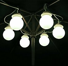 Garden mile 6 x Wandbehang Gartenlaube Markise Zelt Girlande Lichterketten Groß Weiß Globe lichterketten Mit Haken Für Garten Beleuchtung Einsetzbar Als Terrasse Lichter/Wie Innen Party Lichter,