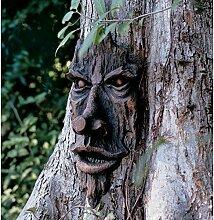 Garden mile Realistisch holz Geschnitzt Hobbit Goblin Ungeheuer Gartenbaum Vorderseite Mystisch Fantasie Garten Baumdekoration Garten Skulptur - Dunkelbraun