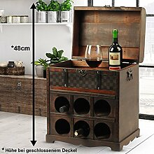 Garden Pleasure Weinregal im Kolonialstil Aufbewahrung Kiste Dekoration Holz Schatz Truhe 6x Flaschen Harms 304006