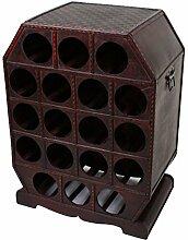 Garden Pleasure Weinregal im Kolonialstil Aufbewahrung Kiste Dekoration Holz Braun Metall 18x Flaschen Harms 304007