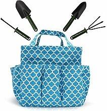 Garden Tools Set - Gartengeräte, mit Garten Handschuhe und Tote - Garten-Geschenke Werkzeug Set und Aufbewahrung Tote (Blue)