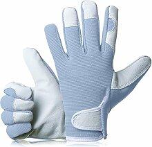 gardenersdream Leder Garten-/Arbeitshandschuhe–Medium Komfortable passgenaue Premium Qualität Handschuhe–Ideal Geschenk für Männer, Frauen (Feminine/Damen) bei einem Jubiläum, Geburtstage oder Weihnachten, blau