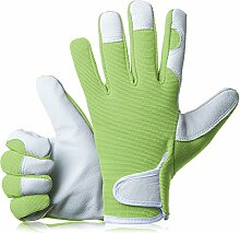 gardenersdream Leder Garten-/Arbeitshandschuhe–Medium Komfortable passgenaue Premium Qualität Handschuhe–Ideal Geschenk für Männer, Frauen (Feminine/Damen) bei einem Jubiläum, Geburtstage oder Weihnachten, grün