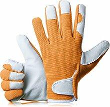 gardenersdream Leder Garten-/Arbeitshandschuhe–Medium Komfortable passgenaue Premium Qualität Handschuhe–Ideal Geschenk für Männer, Frauen (Feminine/Damen) bei einem Jubiläum, Geburtstage oder Weihnachten, orange