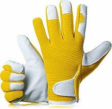 GardenersDream Leder Gartenarbeit / Arbeitshandschuhe - Mittel Bequeme Slim-Fit Premium Qualität Handschuhe - Ideal Geschenk für Männer, Frauen (Weiblich / Damen) an einem Jahrestag, Geburtstage oder Weihnachten (Sonnenschein Gelb)