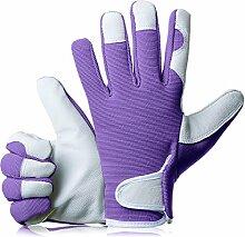 GardenersDream Leder Gartenarbeit / Arbeitshandschuhe - Mittel Bequeme Slim-Fit Premium Qualität Handschuhe - Ideal Geschenk für Männer, Frauen (Weiblich / Damen) an einem Jahrestag, Geburtstage oder Weihnachten (Pflaume Lila)