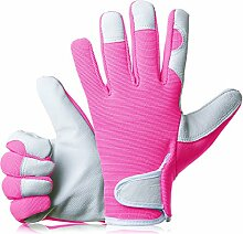 GardenersDream Leder Gartenarbeit / Arbeitshandschuhe - Mittel Bequeme Slim-Fit Premium Qualität Handschuhe - Ideal Geschenk für Männer, Frauen (Weiblich / Damen) an einem Jahrestag, Geburtstage oder Weihnachten (Elektrische Rosa)