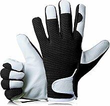 GardenersDream Leder Gartenarbeit / Arbeitshandschuhe - Mittel Bequeme Slim-Fit Premium Qualität Handschuhe - Ideal Geschenk für Männer, Frauen (Weiblich / Damen) an einem Jahrestag, Geburtstage oder Weihnachten (Mitternacht Schwarz)