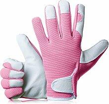 GardenersDream Leder Gartenarbeit / Arbeitshandschuhe - Mittel Bequeme Slim-Fit Premium Qualität Handschuhe - Ideal Geschenk für Männer, Frauen (Weiblich / Damen) an einem Jahrestag, Geburtstage oder Weihnachten (Weich Rosa)