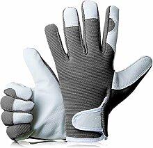 GardenersDream Leder Gartenarbeit / Arbeitshandschuhe - Mittel Bequeme Slim-Fit Premium Qualität Handschuhe - Ideal Geschenk für Männer, Frauen (Weiblich / Damen) an einem Jahrestag, Geburtstage oder Weihnachten (Galant Grau)