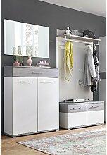 Garderobe 4-teilig ● Weiß & Beton Optik ●