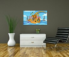 Garderobe Arche Noah Kinder Wandgarderobe Design | Querformat - 69x40 (BxH) | Dekorfolie Kratzschutz Ma