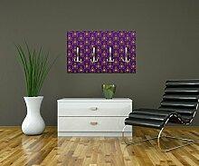 Garderobe Barock Lila Muster Wandgarderobe Design | Querformat - 69x40 (BxH) | Dekorfolie Kratzschutz Glanz