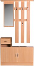 Garderobe Buche 90 cm mit Spiegel und