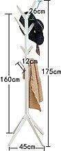 Garderobe Einfache Boden Standing Coat Rack Baum Massiv Holz Holz Mit 8 Haken 175cm Home Schlafzimmer Lagerung ( Farbe : Weiß )