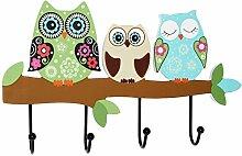 Garderobe - Eulen auf dem Ast - aus Holz - Wandhaken Kindergarderobe / Garderobenhaken - mit 4 Kleiderhaken - Kind Wandgarderobe - bunte Eule auf Ast Vögel Tiere Holzgarderobe Garderobenhaken