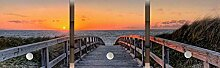 Garderobe, Garderobenbrett, Garderobenpaneel, Garderobenhaken, Digitaldruck, Motiv: Strand, Steg, Meer, Dünen, Sonnenuntergang, orange braun, grün