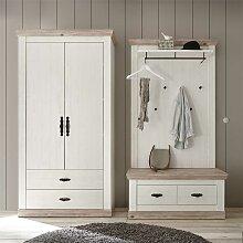 Garderobe im Landhausstil Weiß und Kieferfarben