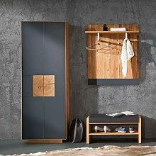 Garderobe in Anthrazit Wildeiche Massivholz