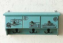 Garderobe Kleiderbügel Herkunftsland Massivholz Schrank Wandschrank Wandschrank Schrank Dekoration Wohnzimmer Regal Haken ( Farbe : Grün )