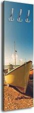 Garderobe mit Design Boote am Strand G283 40x125cm Wandgarderobe Ufer Meer Küste