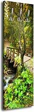 Garderobe mit Design Brücke im Wald G292 40x125cm Wandgarderobe Natur Fluss Landschaf